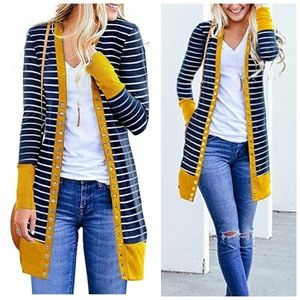 Mustard Yellow Color Block Striped Long Cardigan